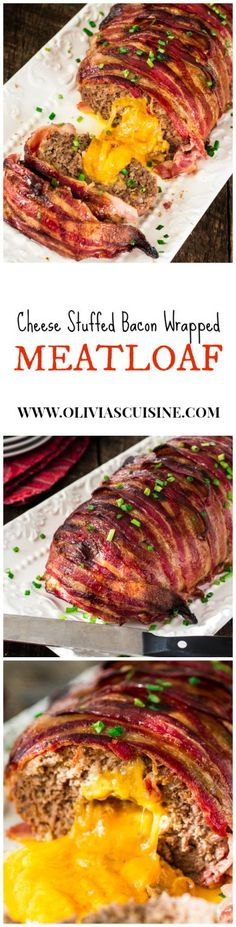 Bacon Wrapped Cheese Stuffed Meatloaf | http://www.oliviascuisine.com | Forget tough, dry meatloaves! This Bacon Wrapped Cheese Stuffed Meatloaf is not only moist but SO FLAVORFUL! Comfort food at its best! #NaturallyCheesy #AD