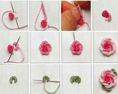 Wonderful Ribbon Embroidery Flowers by Hand Ideas. Enchanting Ribbon Embroidery Flowers by Hand Ideas. Paper Embroidery, Rose Embroidery, Learn Embroidery, Silk Ribbon Embroidery, Embroidery Kits, Cross Stitch Embroidery, Embroidery Needles, Embroidery Stitches Tutorial, Hand Embroidery Patterns