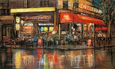 One Night In Paris by Paul Kenton - Landscape Paintings & fine art pictures available in our gallery - Free delivery on all orders over Art Pictures, Art Images, Paul Kenton, Cityscape Art, Paris Art, Sense Of Place, Urban Landscape, Paintings For Sale, Oil Paintings
