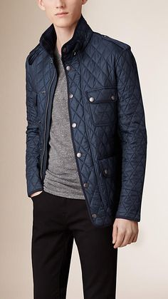 Burberry Navy Diamond Quilted Field Jacket - A lightweight diamond-quilted field jacket with distinctive leather elbow patches and corduroy facing. Discover the men's outerwear collection at Burberry.com