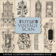 Far Far Hill - Free database of digital illustrations and papers: Freebies Kit - Vintage Illustrations in Baroque St...