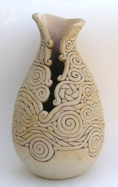 Ivory colored Coil Vase by WhistlingFishPottery on Etsy