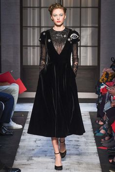 Schiaparelli | Fall 2015 Couture | 02 Black embellished long sleeve midi dress