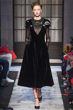 Schiaparelli | Fall 2015 Couture | 02 Black embellished long sleeve midi dress