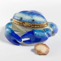 Handpainted Blue Crab with Shell Limoges Trinket Box