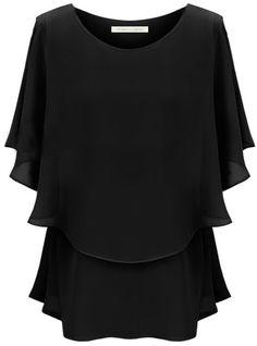 Sheinside - Black Off the Shoulder Ruffles Chiffon Blouse