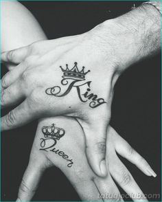 Crown Tattoo is a meaningful design that is fit for all sexes. See our 80 Crown Tattoo Designs with images and symbolic crown tattoo ideas for queen, king, princess, and more royalty-inspired crown tattoos for men and women. Crown Hand Tattoo, Hand Tattoos, Queen Crown Tattoo, Small Crown Tattoo, King Queen Tattoo, Crown Tattoo Design, Crown Tattoos, Couples Tattoo Designs, Henna Tattoo Designs