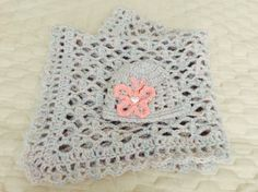 Crochet thick & soft lacy baby blanket with matching hat