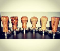 Choose now the shape you love! Contact me with DM. There are several woods to match the shape you want! Coffee Tamper, Coffee Equipment, Latte Art, Espresso Coffee, Coffee Machine, Heavens, Barista, Starters, Wood Crafts