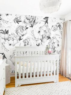Peony Flower Mural Wallpaper Black And White Watercolor Fl Nursery Wall