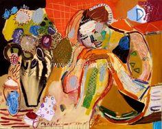 Arte Español. Merello.- Mujer y Florero. El Sueño (81x100 cm) mixta-lienzo. Arte Español Contemporáneo. Pintura.