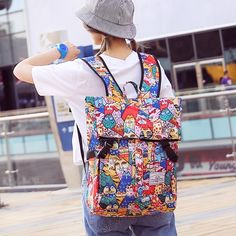26.39$  Watch now - http://alivs9.shopchina.info/go.php?t=32794613891 - Personality Anime Cat Chest Shoulder Bag Japanese and Korean version of large capacity travel backpack Harajuku wind student bag 26.39$ #magazineonline