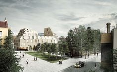Bakpak Architects and EovaStudio have won a competition to design a multifunctional building in Rzeszow, Poland. The design—called The Pottery. Architecture Visualization, Landscape Architecture, Win Competitions, Photoshop Rendering, Render Image, Presentation Design, Poland, Design Inspiration, Exterior