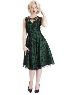 "Women's ""Floral Flocked"" Taffeta Dress by Voodoo Vixen (Green)"