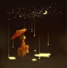 Good night,Douce nuit, Buenas noches, Boa noite, to all my friends♥♥ Illustrations, Illustration Art, Sun Moon Stars, Moon Art, Whimsical Art, Night Skies, Artsy Fartsy, Moonlight, Fantasy Art