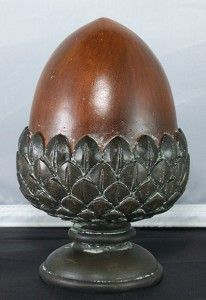 """6.5"""" Tall Decorative Brown Acorn on a Stand Tabletop Finial Fall Holiday Decor"""