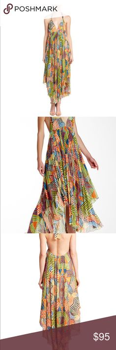 Alice + Olivia Ollie Halter Maxi Dress Alice + Olivia Ollie Halter Maxi Dress - fun geometrical print. Only worn one time. In perfect condition. Alice + Olivia Dresses Maxi