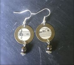 Vintage Sheet Music Earrings, OOAK by SelfieChicBoutique on Etsy