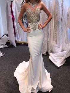 white mermaid prom dresses, white wedding dresses Pretty Prom Dresses, Prom Dresses 2018, Prom Dresses For Sale, Mermaid Prom Dresses, Wedding Dresses, Dress Prom, Dress Long, Dress Formal, Prom Outfits