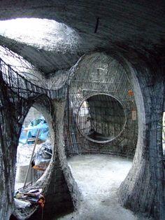 Archilibre-interieur02 Creative Architecture, Organic Architecture, Futuristic Architecture, Beautiful Architecture, Maison Earthship, Earthship Home, Concrete Sculpture, Concrete Art, Cob Building