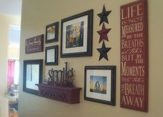 Mixed pictures and decor on a wall