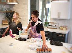 Gleb Savchenko making a mess baking in Sasha Pieterse's kitchen, Dancing with the Stars, PLL, DWTS, Pretty Little Liars