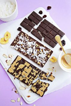 Healthy Chocolate Bars 3 Ways!  (click through for recipe!)