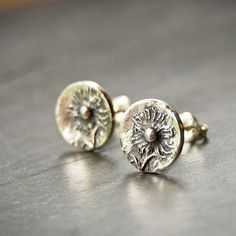 Sterling Stud Earrings, Small Mid-Winter Asters from Kansas Prairie on Sterling Silver Posts - product images  of