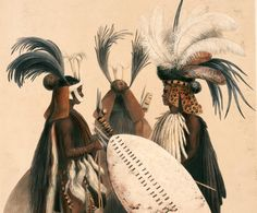 In 1846, Angas left for South Africa, where he spent two years in Natal and the Cape. In 1849, the London firm of J. Hogarth published The Kafirs Illustrated, which included 30 lithographs based on drawings and watercolors made by Angas in South Africa. Plate 20 depicted the Zulu soldiers of the army of King Umpande, or Panda (died 1871), wearing their distinctive headdresses and carrying oval skin-covered shields.