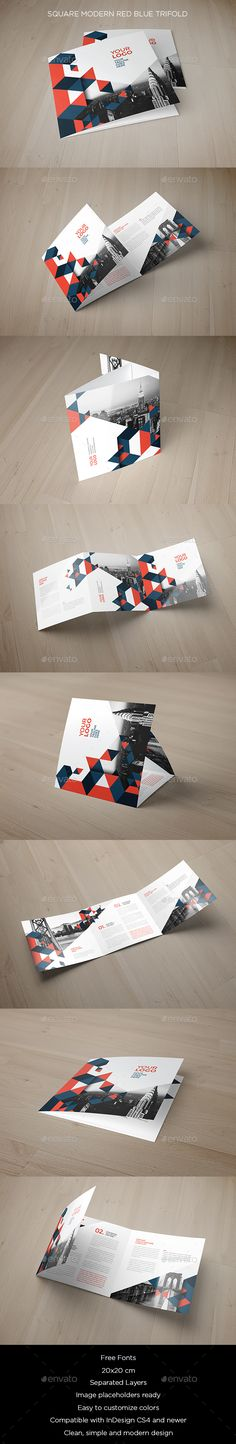 Square Modern Red Blue Trifold — InDesign INDD #business #flexible • Available here → https://graphicriver.net/item/square-modern-red-blue-trifold/15264796?ref=pxcr