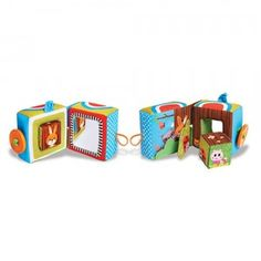 Engages babies with crinkly sounds, textures, rattles, peekaboo animals, a teether, and more.