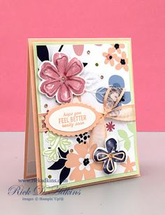 Pretty Perennials Punch Party Paper Blooms Card by Rick Adkins Homemade Birthday Cards, Homemade Cards, Flower Stamp, Flower Cards, Make Your Own Card, Paper Cards, Diy Cards, Fancy Fold Cards, Cards