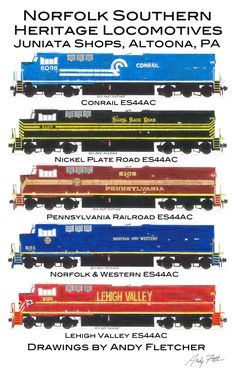 The 5 Norfolk Southern GE ES44AC locomotives painted in the Juniata shops in Altoona, PA drawings by Andy Fletcher