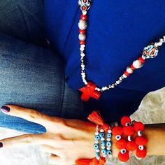 Bonjour❤️red&blue  - Τα Goupi Μαρτάκια μου, Goupi Cross Boho κρεμαστό κατακόκκινο και δρόμο ✝ #goupi #goupijwls #red #hotred #bohemian #boho #bohochic #bohogirl #bohostyle #crossnecklace #necklace #jewelry #jewelrygram #jewelrydesigner #march #marchbracelet #handmade #handmadejewelry #greekdesigners #greece #jeans #blue #pompoms #pompombracelet Crochet Necklace, Boho, Instagram Posts, Handmade, Jewelry, Fashion, Moda, Hand Made, Jewlery