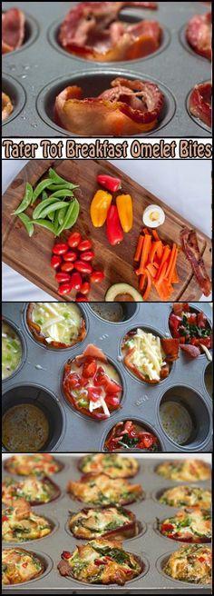 Tater Tot Breakfast Omelet Bites.