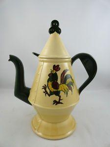 metlox green rooster | Vintage Metlox California Provincial Poppytrail Rooster Coffee Pot