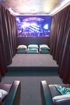 Jenna Sue: Our Home Theater Room: The Reveal (genius for a weird shaped room that's small/extra)
