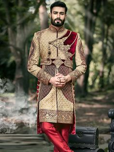Check out for Latest sherwani. Buy maroon and beige color brocade sherwani at Best Price While Shopping Online From Our Store. Sherwani For Men Wedding, Wedding Dresses Men Indian, Sherwani Groom, Wedding Dress Men, Wedding Men, Wedding Suits, Punjabi Wedding, Indian Weddings, Menswear