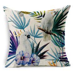 Pintados à mão Flor Tropical Folhas de Árvore Capa de Almofada de Linho Flores Floral Capas de Almofadas Para O Sofá Cadeira Housse De Coussin BZT-9