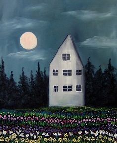 The Moon in My Garden An Original Oil Painting by Lisa Aerts | eBay