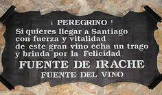 La scritta sulla Fonte del Vino a Irache