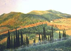 """A Procession of Cypresses"" Original Gouache/canvas Available direct through artist-framed  Giclee print: 24""x18""  $85.00  MB.artwork@verizon.net"