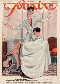Original vintage published in 1929 Leonnec Hairdresser, Flapper Hairstyle Urchin Cut illustrated by Georges Léonnec — Le Sourire Vintage Artwork, Vintage Posters, Vintage Illustrations, Vintage Photos, Art Deco Logo, Flapper Hair, Salon Art, Art Deco Posters, Vintage Hairstyles