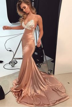 BIG OFF promotion for One Day!Satin Prom Dresses Mermaid Long Spaghetti Straps Evening Dresses Lace Appliques Backless Formal Gowns Sexy Party Dress for Women
