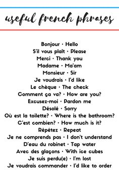 Useful French Phrases - Becoming fluent in a foreign language takes years and y. - Fransızca French - Useful French Phrases – Becoming fluent in a foreign language takes years and years of practice. Common French Phrases, Useful French Phrases, Basic French Words, How To Speak French, French Travel Phrases, English To French Phrases, French Slang, English Time, French Language Lessons