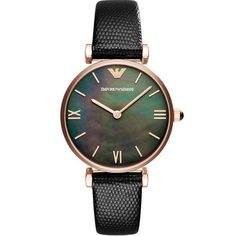 c76da0114570b Buy Emporio Armani Women's Mother of Pearl Leather Strap Watch, Black/Multi  from our Women's Watches range at John Lewis & Partners.