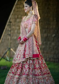 Photo of Light and dark red bridal lehenga Indian Bridal Photos, Indian Bridal Outfits, Indian Bridal Fashion, Indian Bridal Wear, Indian Dresses, Pink Bridal Lehenga, Indian Wedding Lehenga, Designer Bridal Lehenga, Red Lehenga
