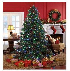 Pre-Lit w/ 600 Color Changing LED Lights Christmas Tree 7.5' - http://www.christmasshack.com/christmas-trees/pre-lit-w-600-color-changing-led-lights-christmas-tree-7-5/