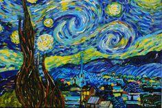 """La """"nuit étoilée"""" d'après Vincent Van Gogh de la boutique TableauxFPolisano sur Etsy"""