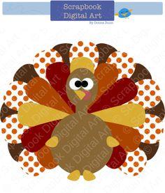Colorful Turkey Digital Clip Art by ScrapbookDigitalArt on Etsy, $1.50